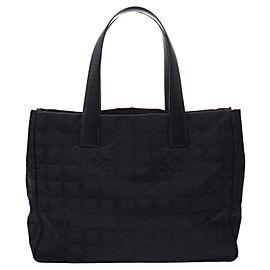 Chanel Line Mm 3c626 Black Canvas Tote