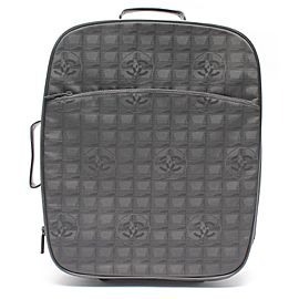 Chanel Line Rolling Luggage Trolley Suitcase Carry On 236755 Black Canvas Weekend/Travel Bag