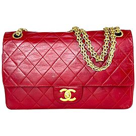 Chanel Mademoiselle Double Flap Medium Classic Chain 9ca61 Red Lambskin Leather Shoulder Bag
