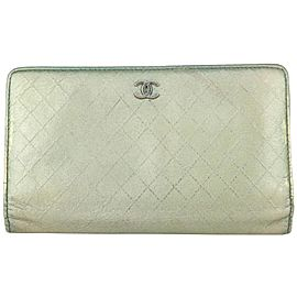 Chanel Quilted Metallic Green Leather Long Bifold Flap Wallet 266ca29