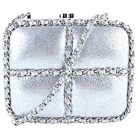 Chanel Metallic Minaudiere 1cr0115 Silver Leather Cross Body Bag