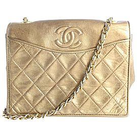 Chanel Metallic Quilted Lambskin Retro Flap 13cz0821 Bronze Leather Shoulder Bag
