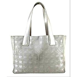 Chanel Metallic Silver New Line Tote 207437 Grey Canvas X Leather Shoulder Bag