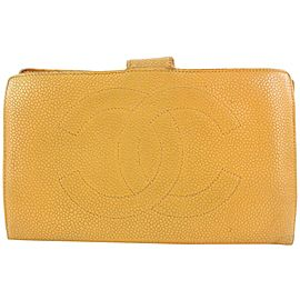 Chanel Mustard Yellow Caviar Leather CC Logo Flap Wallet 791ccs42