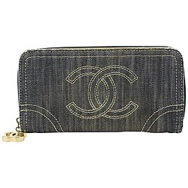 Chanel Denim CC Zip Around Wallet Zippy Continental Long 105c727