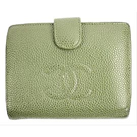 Chanel Olive Green Caviar Cc Logo Snap Bifold Flap 28cca606 Ccjy9 Wallet