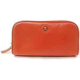Chanel Orange Calfskin CC Button Line Cosmetic Pouch Toiletry Case 863191