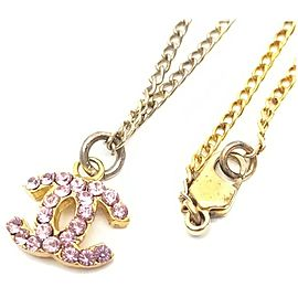 Chanel 02p Pink Crystal CC Necklace 862195