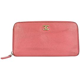 Chanel Pink Leather CC Logo Zippy L-Gusset Wallet 13ccs111