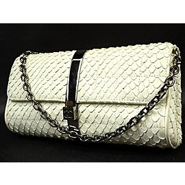 Chanel Python Flap 219333 White Patent Leather Shoulder Bag