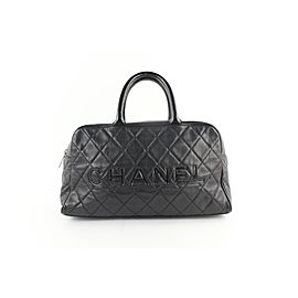 Chanel Duffle Quilted Caviar Jumbo Boston 224146 Black Leather Weekend/Travel Bag