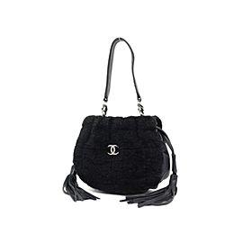 Chanel Quilted Fringe Ball 227132 Black Shearling Shoulder Bag