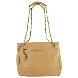 Chanel Quilted Gold Chain Shopper Tote 219356 Beige Leather Shoulder Bag