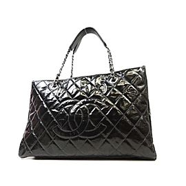 Chanel Quilted Grand Shopper Tote 228284 Black Patent Leather Shoulder Bag