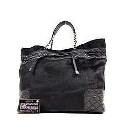 Chanel Quilted Lambskin Hair Chain 232104 Black Pony Fur Tote