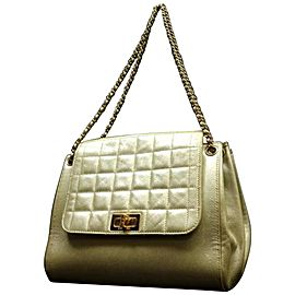 Chanel Quilted Metallic Accordion Flap Pearl 224475 Gold Leather Satchel