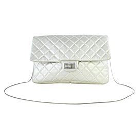 Chanel Quilted Metallic Jumbo Flap 13ct927 Silver Leather Shoulder Bag