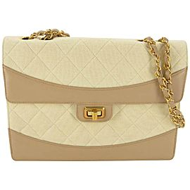 Chanel Quilted Retro Clasp Caramel Flap 865910 Beige Canvas Shoulder Bag