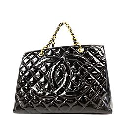 Chanel Quilted Timeless Shopper Chain 234198 Black Patent Leather Tote