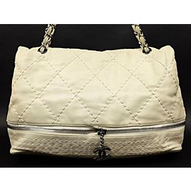 Chanel Quilted Weekender Convertible Flap 222978 Ivory Leather Shoulder Bag