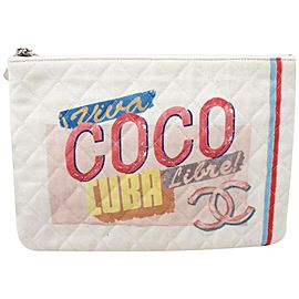 Chanel Rare Quilted Viva Coco Libre Cuba O-Case Zip Pouch Clutch Bag 861915