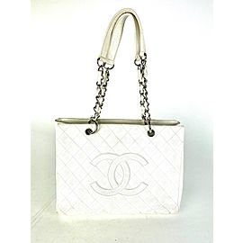 Chanel Shopping Grand Caviar Quilted 14la530a White Leather Tote