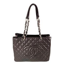 Chanel Shopping Grand Silver Gst 13ca531 Brown Caviar Leather Tote