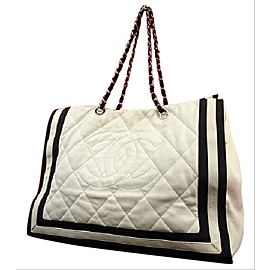 Chanel GST Two-Tone Quilted Chain Grand Shopping Tote 2151949
