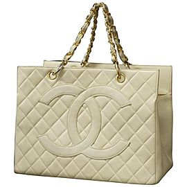 Chanel Shopping Quilted Timeless Grand 234426 Ivory Caviar Leather Tote
