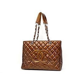 Chanel Shopping Tote Bronze Copper Quilted Chain Grand Gst 231199 Brown Patent Leather Shoulder Bag