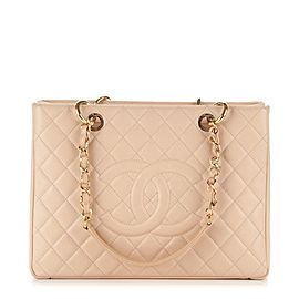 Chanel Shopping Tote Grand Gst 2ck0107 Beige Caviar Leather Shoulder Bag