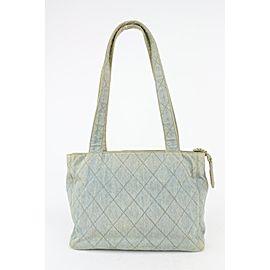 Chanel Light Blue Quilted Denim Zip Shopper Tote Bag 5cas720