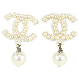 Chanel 03A Pearl CC Drop Earrings 20ACS719