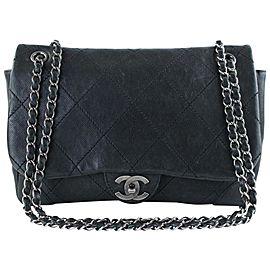 Chanel Soft Caviar Maxi Flap 4ct1012 Black Leather Cross Body Bag