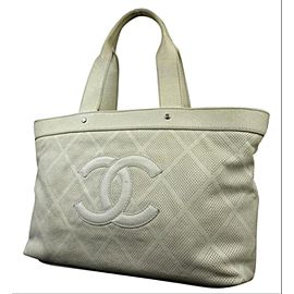 Chanel Timeless Perforated Cc Up In The Air 218174 Off-white Calfskin Tote