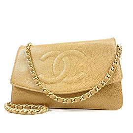 Chanel Timeless Wallet on Chain Caviar Cc Flap 233989 Beige Leather Cross Body Bag