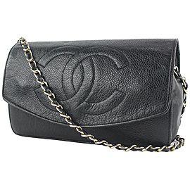 Chanel Black Caviar Leather CC Logo Timeless Wallet on Chain Flap Bag 4CC823