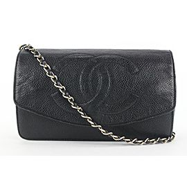 Chanel Black Caviar Leather CC Logo Timeless Wallet on Chain Flap Bag 816cas4