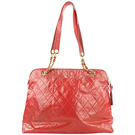 Chanel Large Red Quilted Vinyl Chain Tote Bag 48ccs115