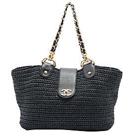 Chanel Navy Blue Raffia Straw CC Turnlock Chain Tote Bag 888cas413