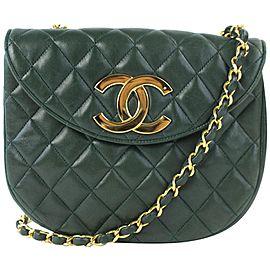 Chanel (Ultra Rare) Jumbo Logo Crescent Flap 17cz0717 Forest Green Leather Cross Body Bag