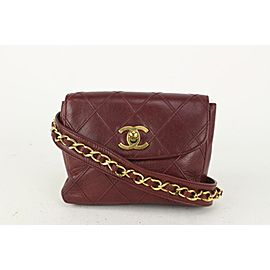 Chanel Quilted Burgundy Leather Waist Pouch Belt Bag Bum Fanny 162c730