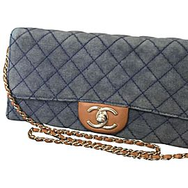 Chanel Wallet on Chain Quilted Denim Corduroy 227068 Blue X Brown Coated Canvas Shoulder Bag