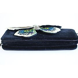 Chanel Wallet on Clutch Butterfly Feather & Sequin Chain 3ccty71417 Navy Velour Cross Body Bag