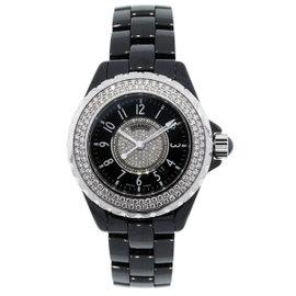 Chanel J12 H1708 Ceramic Diamond Bezel Black Dial 33mm Womens Watch