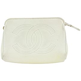 Chanel White Caviar CC Mini Cosmetic Pouch 854cas48