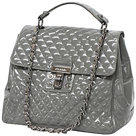 Chanel with 2.55 Reissue Jumbo Turnlock Kelly Top Handle Flap Silver Chain 239580 Gray Patent Leather Shoulder Bag
