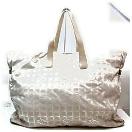 Chanel XL New Line Tote Zip Gm Huge 872829 Beige Canvas Weekend/Travel Bag
