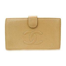 Chanel Beige Caviar Leather CC Logo Long Flap Wallet 863307