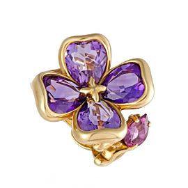 Chanel 18K Yellow Gold with Amethyst & Rhodolite Flower Ring Size 5.5